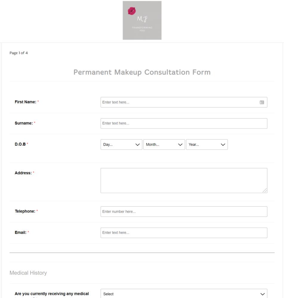 Permanent Makeup Consultation Form
