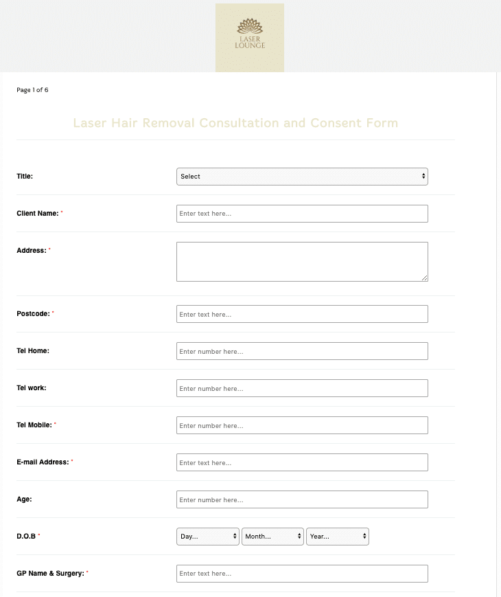 Laser Hair Removal Consultation and Consent Form Template