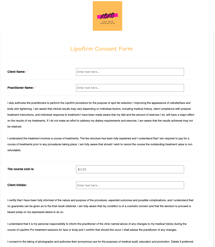 Lipofirm Consent Form Template