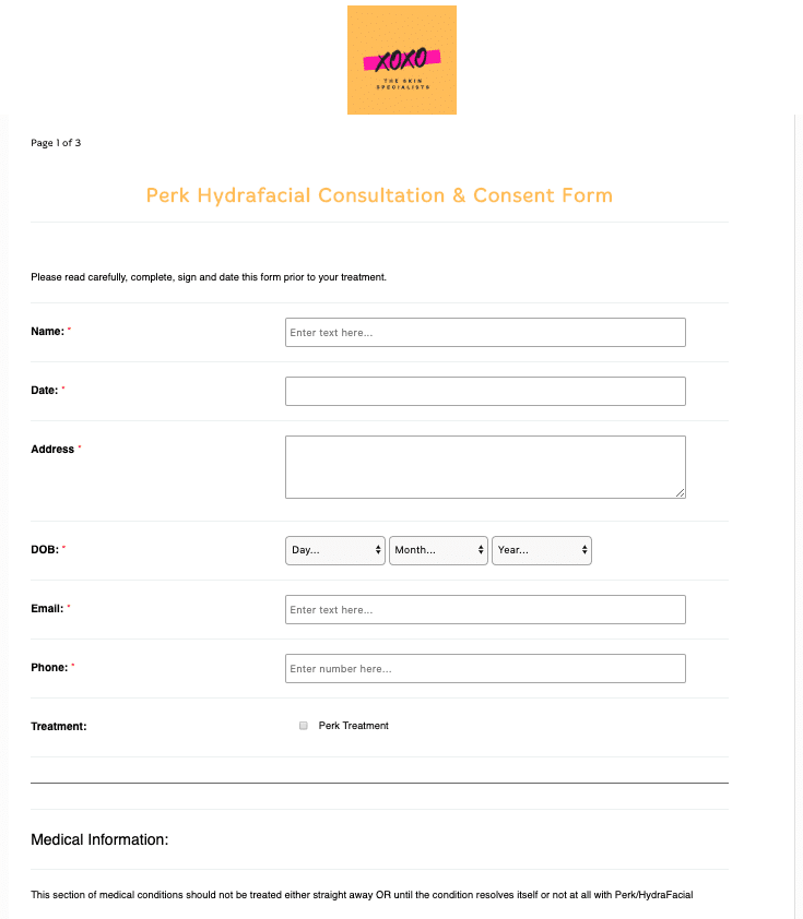 Perk Hydrafacial Consultation and Consent Form Template
