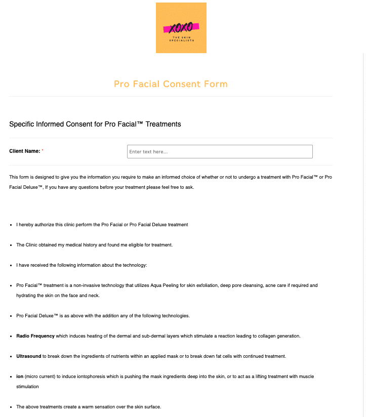 Pro Facial Consent Form Template