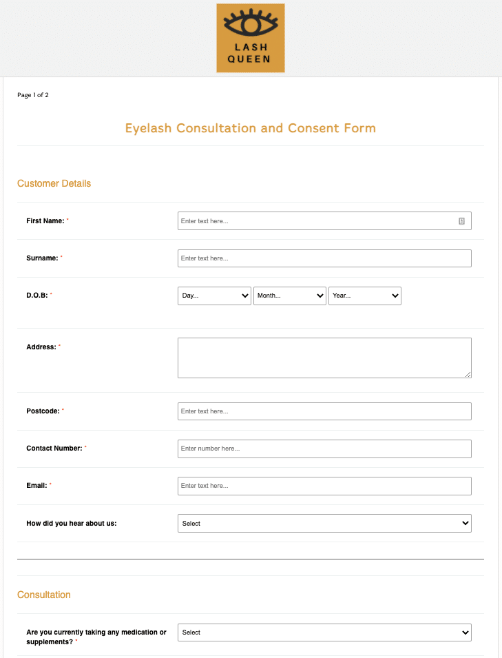 Eyelash Consultation and Consent Form