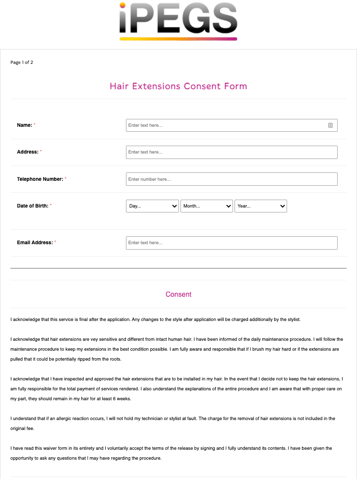 Hair Extensions Consent Form Template