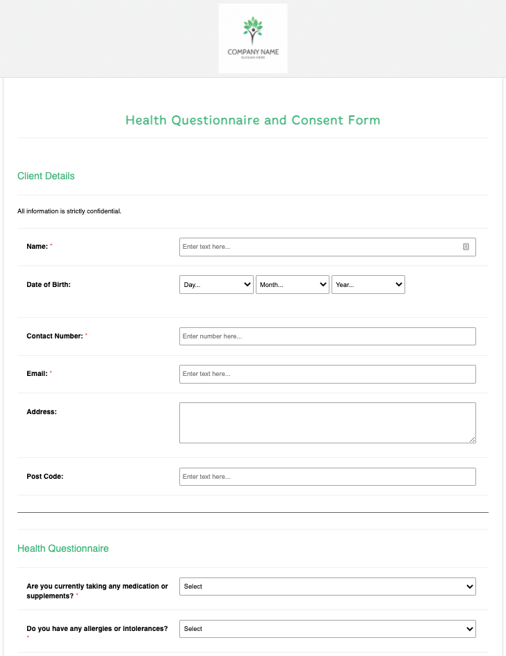 Health Questionnaire and Consent Form Template