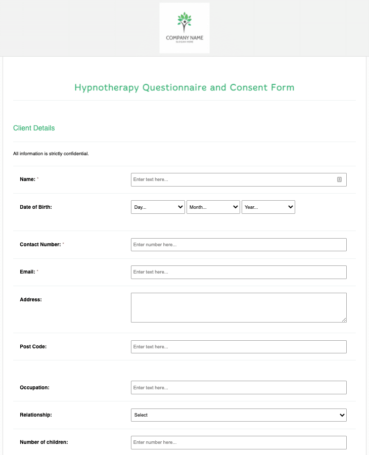 Hypnotherapy Questionnaire and Consent Form Template