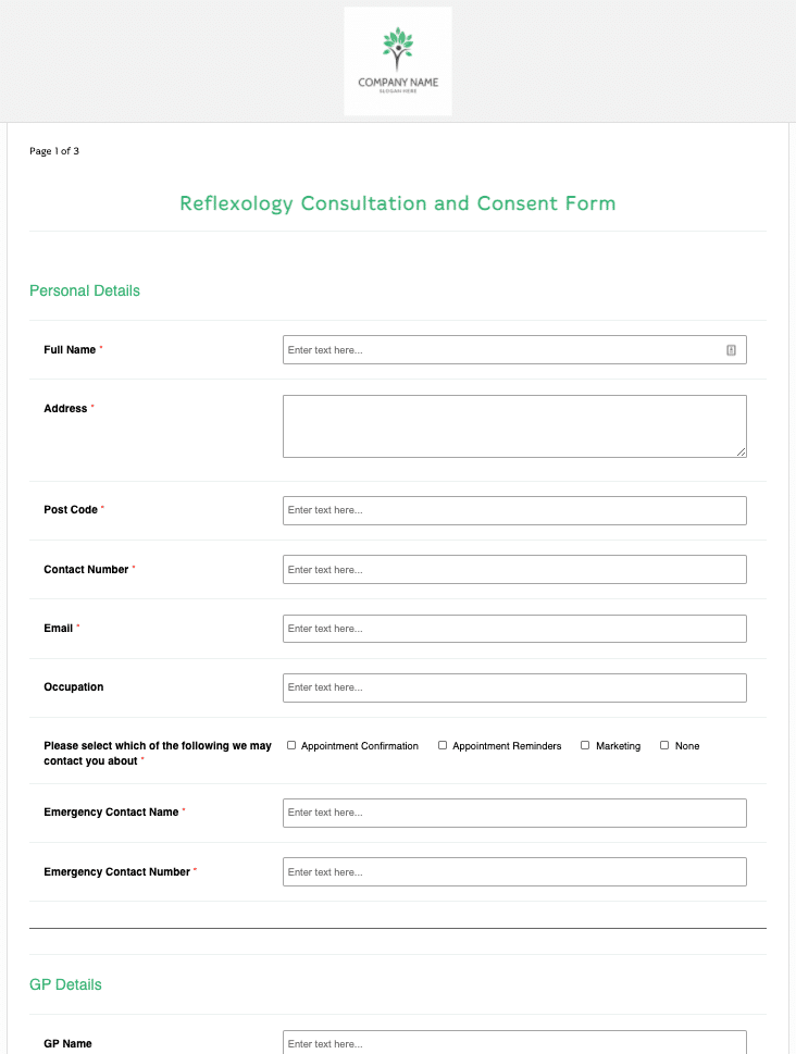 Reflexology Consultation and Consent Form Template