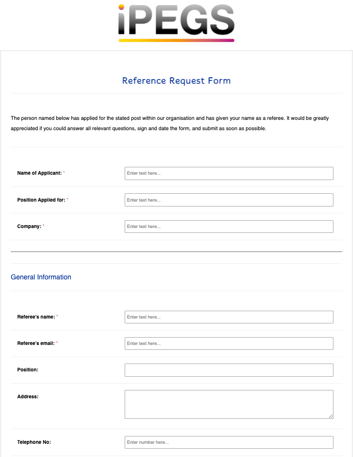 Reference Request Form Template
