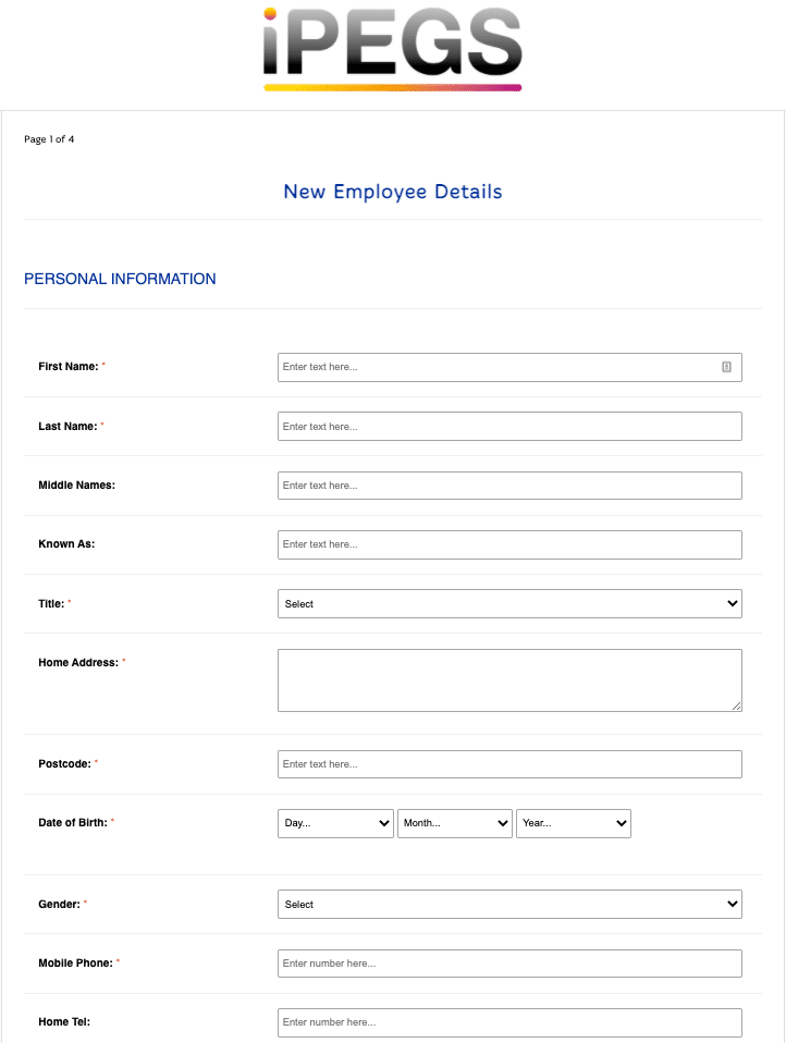 New Employee Details Form Template