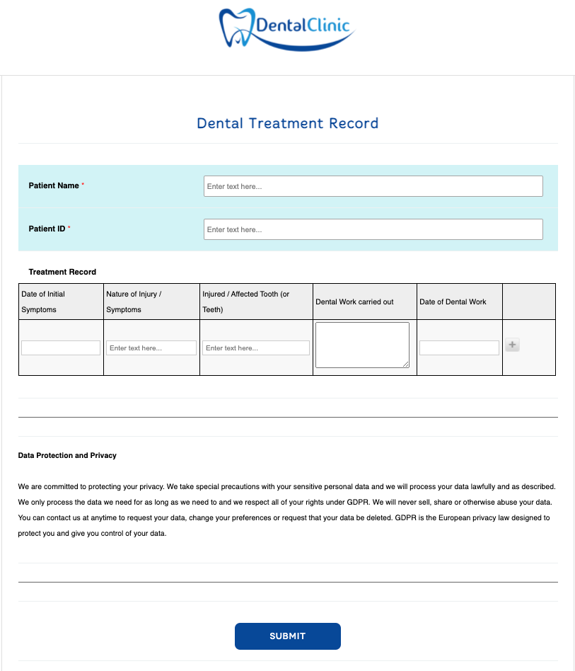 Dental Treatment Record Form Template