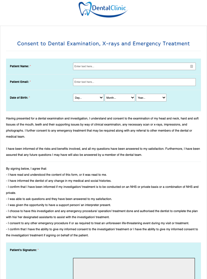 Dental Examination, X-rays and Emergency Treatment Consent Form Template