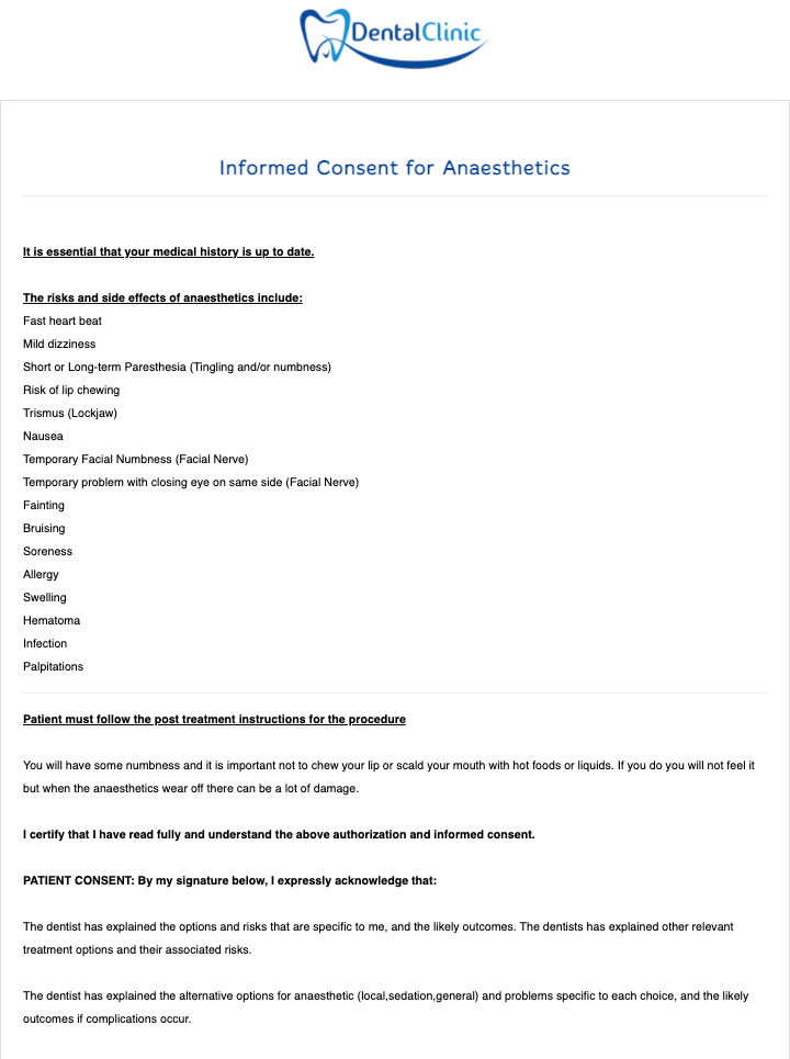 Dental Anaesthetic Consent Form Template